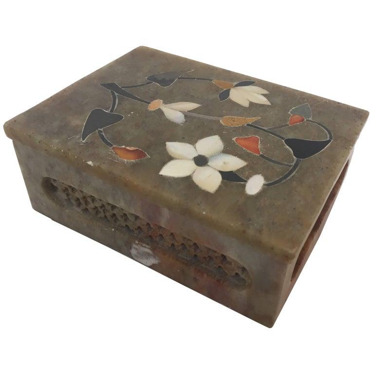 Anglo-Raj Marble Inlay Box Pietra Dura Censor For Sale