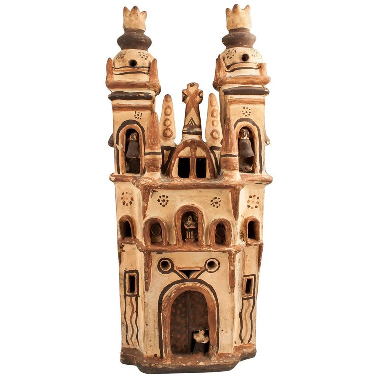 Mid-20th Century Tall Ceramic Mexican Folk Art Church