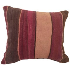 Moroccan Berber Pillow Cut from a Vintage Tribal Stripes Rug