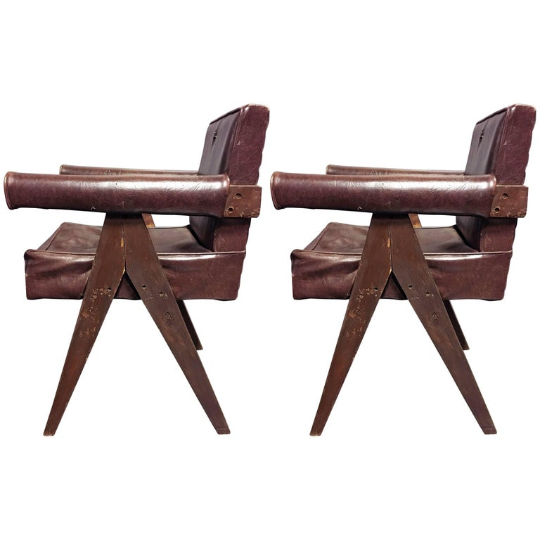 Pierre Jeanneret Pair of Unrestored Office Chairs