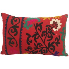 Large Vintage Colorful Suzani Embroidery Lumbar Pillow from Uzbekistan