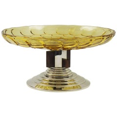 French Art Deco Centerpiece Bowl Molded Glass Macassar & Chrome Skyscraper Base