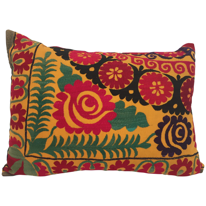 Large Vintage Colorful Suzani Embroidery Lumbar Pillow