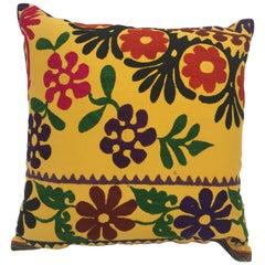 Vintage Large Yellow Suzani Embroidery Decorative Throw Pillow from Uzbekistan