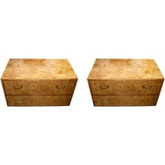 Pair of Widdicomb Campaign Styles Nightstand or End Tables in Burlwood