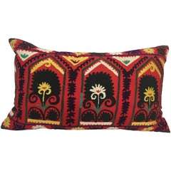 Vintage Large Colorful Suzani Embroidery Decorative Throw Pillow from Uzbekistan
