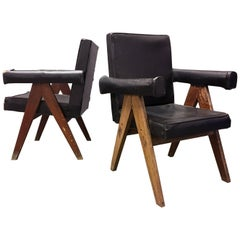 Pierre Jeanneret Pair of Unrestored Committee Chairs