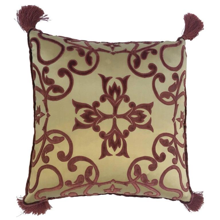 Moroccan Silk Velvet Applique Throw Decorative Pillow with Tassels Moroccan