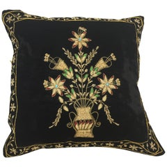 Velvet Black Silk Throw Pillow Embroidered with Gold Design