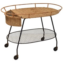 Wicker and Iron Serving Cart by Maurizio Tempestini for Salterini