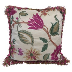 Vintage Colorful Silk Pillow with Spring Fresh Flowers Designs and Trim