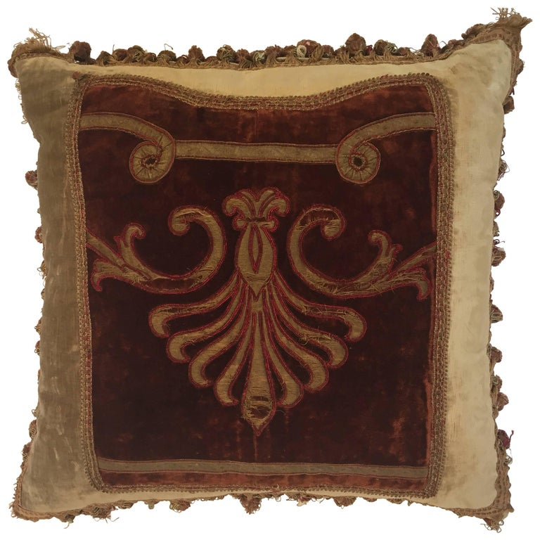 19th Century Silk Velvet Antique Textile Fragment Framed into a Pillow