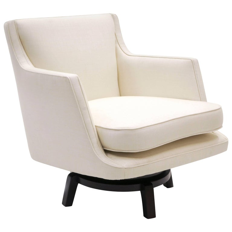 Swivel Lounge Chair, Edward Wormley for Dunbar, Almost White, Expertly Restored