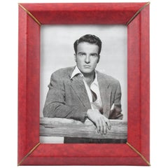 French Red Faux Leather Pattern Picture Photo Frame