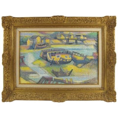 Georges Joseph Zelter Pointillism Oil on Canvas Painting Boat and Seaside