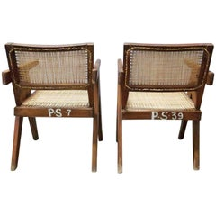 "Pierre Jeanneret Pair of ""V-leg"" Armchairs"