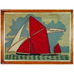 Sailor's Woolwork -Woolie- of a Thames Barge with Banner Reading Harry & Nellie