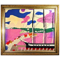 Folk Art Large Silk Picture of a Docked Sailing Ship, circa 1930