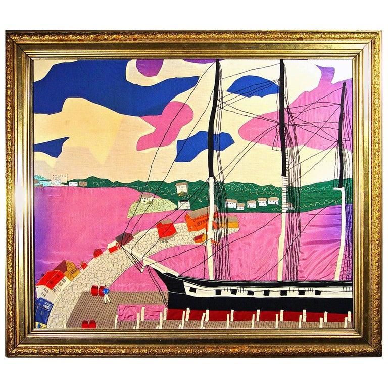 Folk Art Large Silk Picture of a Docked Sailing Ship, circa 1930