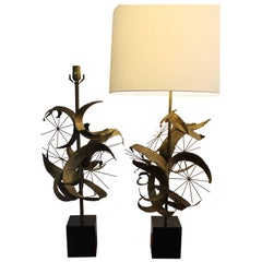 Pair of Brutalist Lamps by Laurel Lamp Mfg. Co