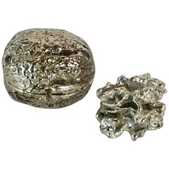 Silver Plated Bronze Sculpture of a Walnut