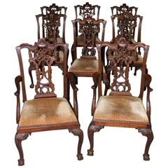 Set of Eight Carved Mahogany Chippendale Style Ribbon Back Dining Chairs