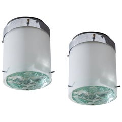 Pair of Model 2494 Wall or Ceiling Lights by Max Ingrand for Fontana Arte