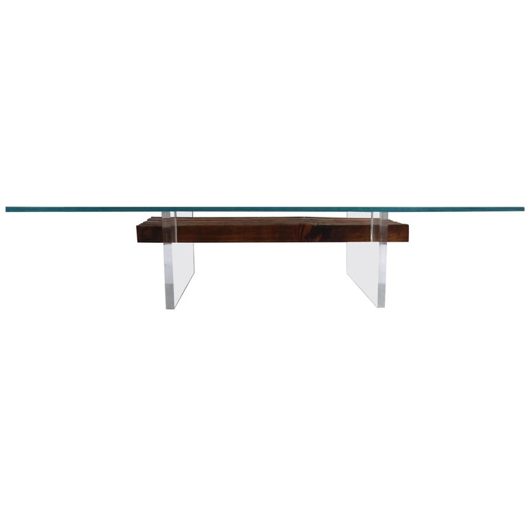Lucite, Wood and Glass Coffee Table