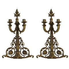 Pair of French Bronze Wall Sconce Candleholders