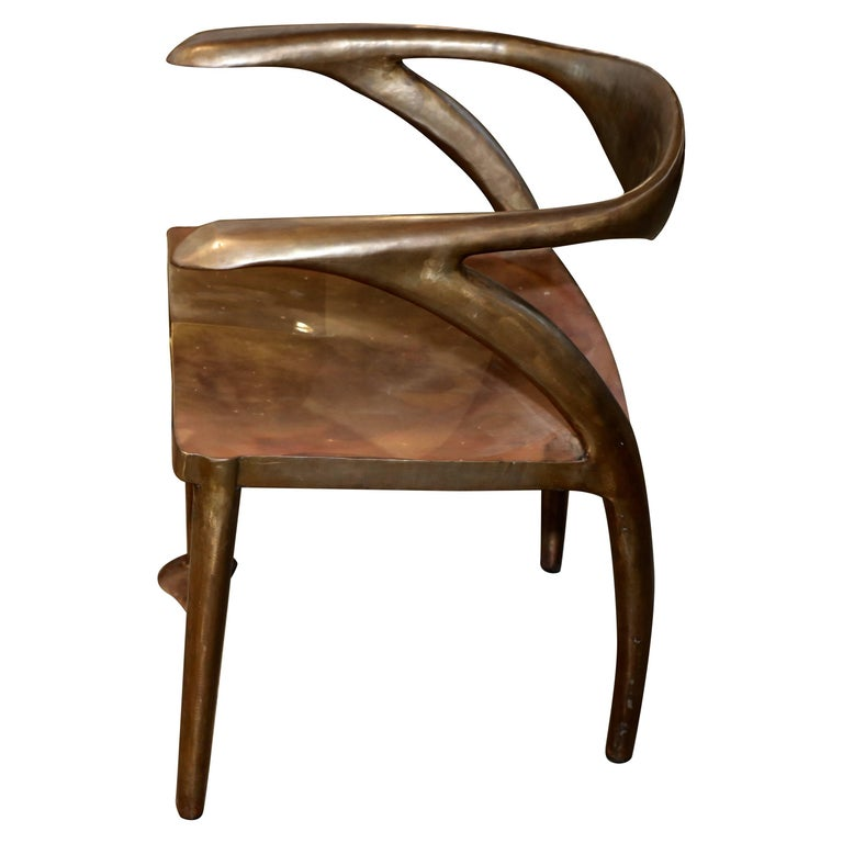 Brass or Bronze Handcrafted Chair For Sale