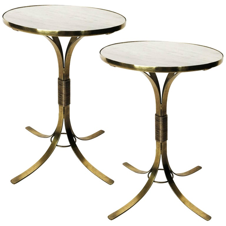 Pair of Mid-Century Modern Neoclassical Style Brass and Marble Top Side Tables