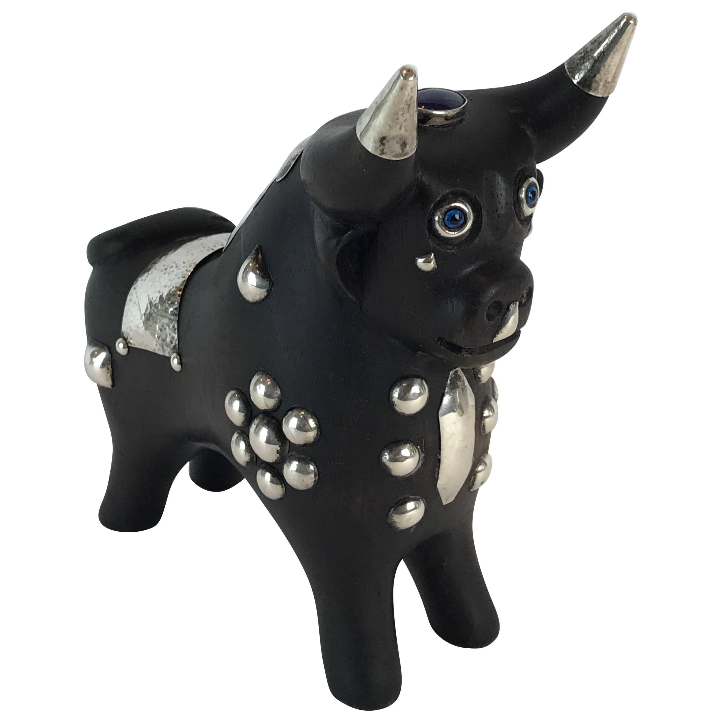 Midcentury Carved Wood and Silver Taurus Bull Sculpture