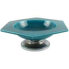 Paul Milet for Sevres France Art Deco Modernist Turquoise Ceramic Bowl