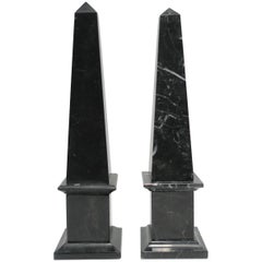 Set of Modern Italian Black and White Marble Obelisks