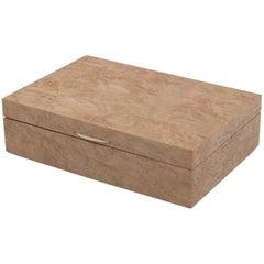 French Art Deco Modernist Chestnut Burl Wood Box
