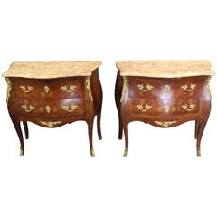 Pair of Louis XV Style Bronze-Mounted Marble-Top Inlaid Bedside Commodes