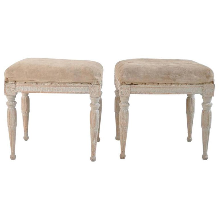 18th Century Pair of Swedish Gustavian Period Signed Footstools from Stockholm For Sale