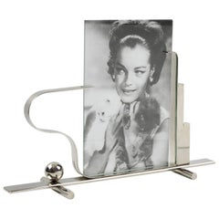 French Art Deco Modernist Machine Age Skyscraper Chrome Picture Photo Frame