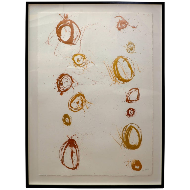 "John Szabo ""Gold Balls III"" Abstract on Paper For Sale"