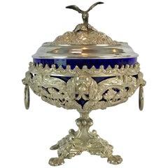 Antique Silver Dog Motif Covered Cobalt Urn