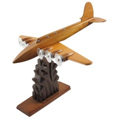 Anthoine Art Bois Studio French Art Deco Wooden Airplane Aviation Model