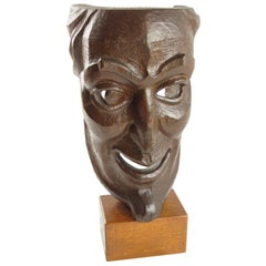 1956 Signed Hand-Carved Palm Wood Grotesque Mask Sculpture