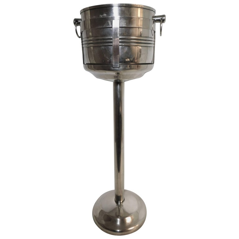 Calegaro Italian Silver Plated Wine Cooler Bucket and Stand