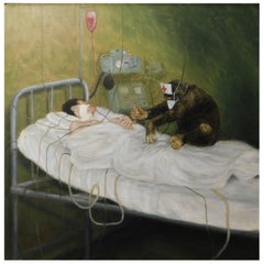 Science Fiction Painting with Monkey Nurse Treating Patient