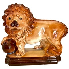 Staffordshire Standing Lion with Ball, 19th Century