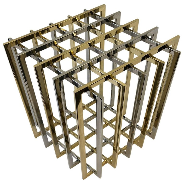 Brass and Chrome Dining Table Base by Pierre Cardin