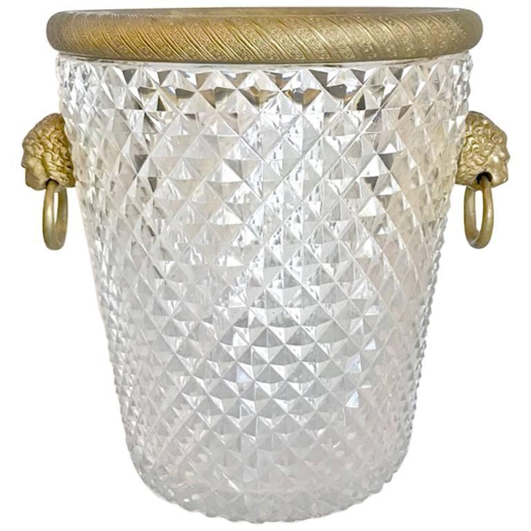 French Cut Crystal and Ormolu Ice Bucket, 20th Century