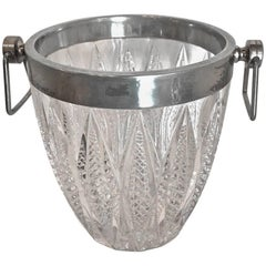 Cut Crystal and Silver Plate Ice Bucket, 20th Century