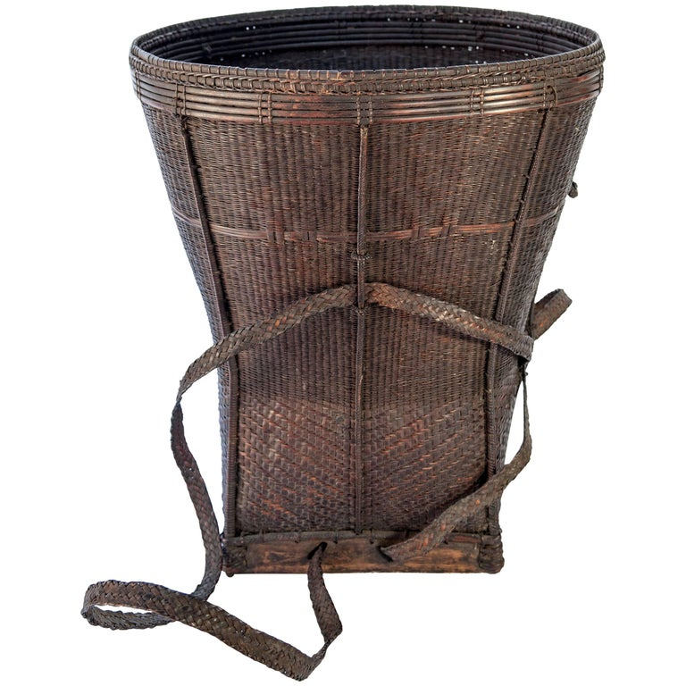 Tribal Carrying Basket from Laos, Mid-20th Century, Bamboo, Rattan, Wood Base
