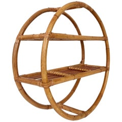 Mid-Century Rattan & Wicker Wrap Round Wall Mounted Shelf Display